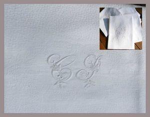 Nappe serviettes brodées linge ancien Mme Alexandre