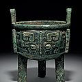 A rare bronze ritual tripod food vessel, ding, late shang dynasty, 13th-11th century b.c.
