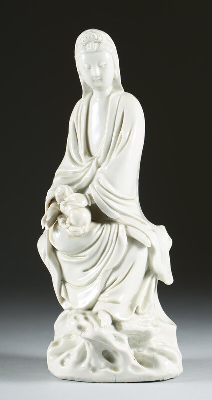 Chinese_Blanc_de_Chine_Porcelain_Figure_of_Guanyin_with_Dog_18th_Century_756_001