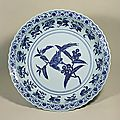 Blue-and-White Charger with Bird and Branch Design, Ming Dynasty, Yongle Period (1403-1424), d.50.5cm. Gift of SUMITOMO Group the ATAKA Collection.Acc. No. 10634. The Museum of Oriental Ceramics, Osaka. © 2009 The Museum of Oriental Ceramics,Osaka.