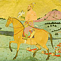 A mughal nobleman riding through a landscape holding a hawk, india, deccan, bijapur, circa 1660-80