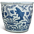 An extremely rare large blue and white 'carp' fishbowl , wanli mark and period (1573-1619)