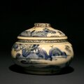 Safavid, persian blue and white soft paste porcelain pottery vase. 17th century ad, with pseudo chinese marking on bottom.