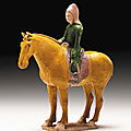 A Green and Yellow-Glazed Pottery Figure of an Equestrian, Tang Dynasty (618-906)