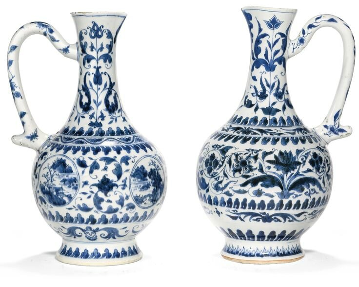 Two blue and white ewers, 17th century