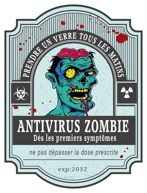 antivirus zombie virus blood label