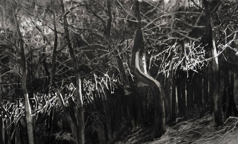 The Last Ray of Light in the Forest ( modifié ), encre de Chine, 40 x 25 cm, mars 2020