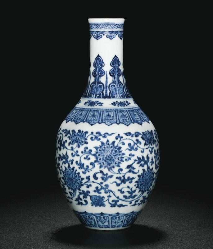 A fine and rare blue and white 'Lotus' vase, Seal mark and period of Qianlong