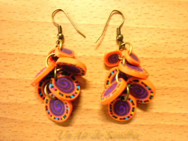 Boucles d'oreilles Pétales orange violet