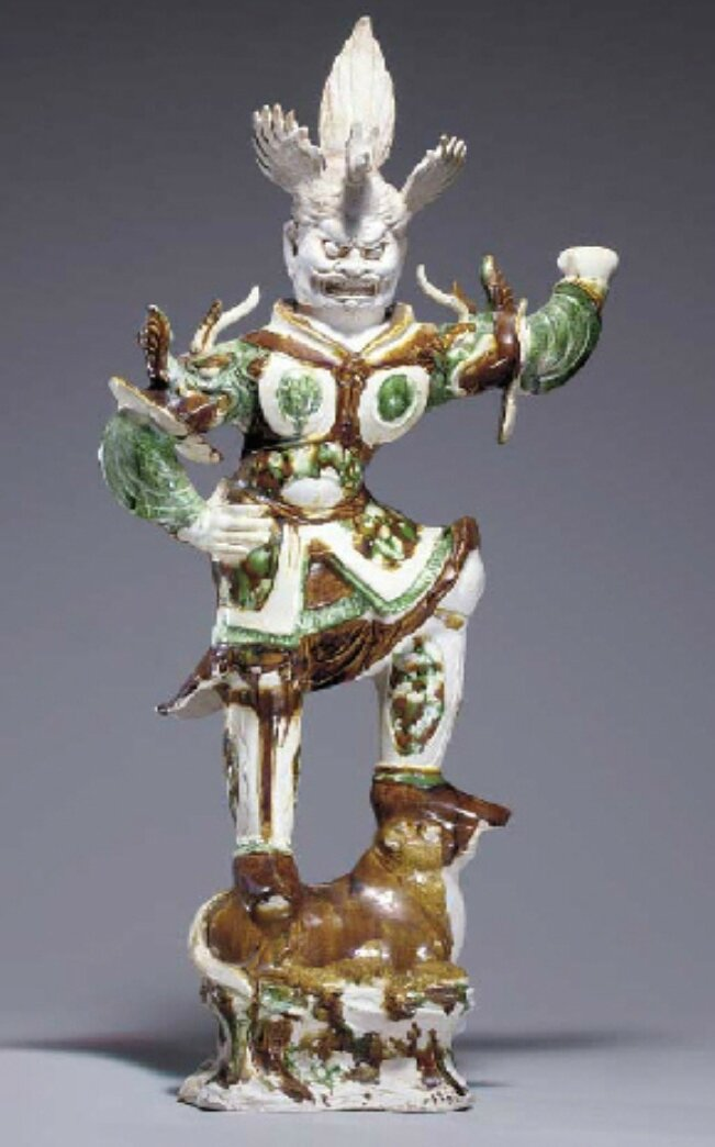 A large sancai-glazed pottery figure of a Lokapala, Tang dynasty (618-907)