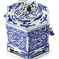 A blue and white hexagonal box and cover , Mark and period of Wanli
