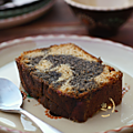 Cake marbré au citron & à la purée de sésame noir