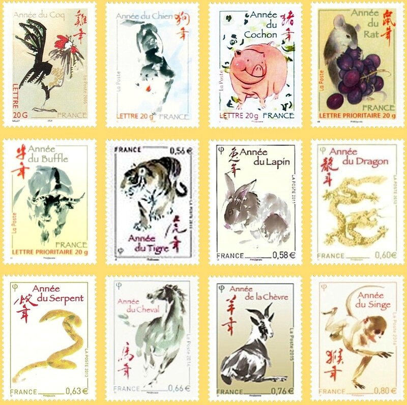 Timbres France Calendrier chinois constitué