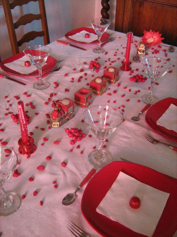 Deco noel table rouge et blanc