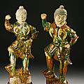 Two sancai-glazed pottery figures of Lokapala, Tang Dynasty (618-906)