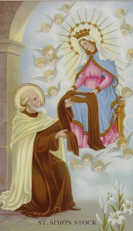 l'apparition de Notre Dame du Mont Carmel à St Simon Stock