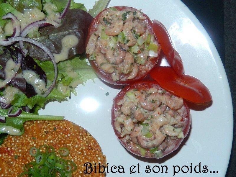Tomates crevettes à la mayonnaise légère et quinoa tomaté - tomates