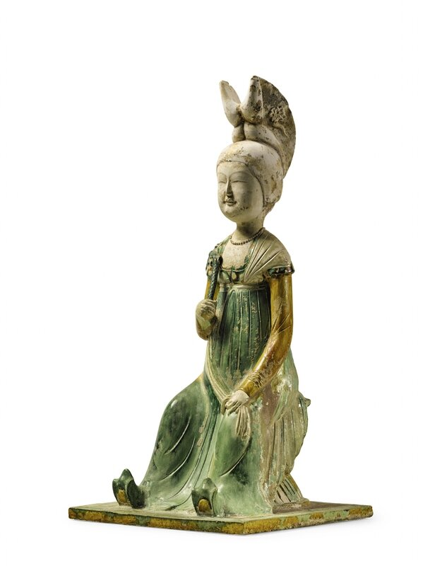 A Rare and Important Sancai-Glazed Pottery Figure Of A Court Lady, Tang Dynasty