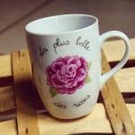 Porcelaine peinte à la main mug rose