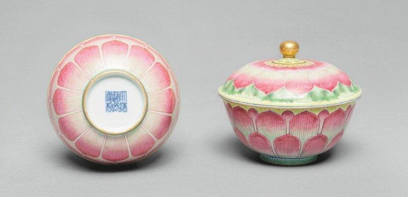 Two famille-rose 'lotus' bowls and covers, Daoguang seal marks and period