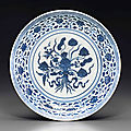 A blue and white ming-style 'lotus bouquet' dish, yongzheng six-character mark and of the period (1723-1735)