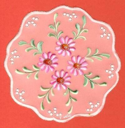 fleurs roses d'après le livret Art du parchemin partie 7 (juin 2012)