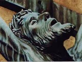 christ pastel et feuille or vue tête