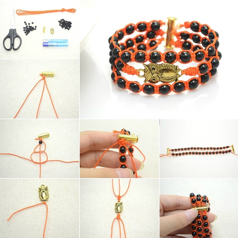 Bracelet-Making-Ideas-–-How-to-Make-a-Beaded-Owl-Bracelet-Out-of-Beads-and-Nylon-Thread