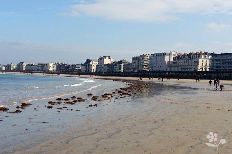 Saint Malo, Chaussée du Sillon vue de la plage à marée basse