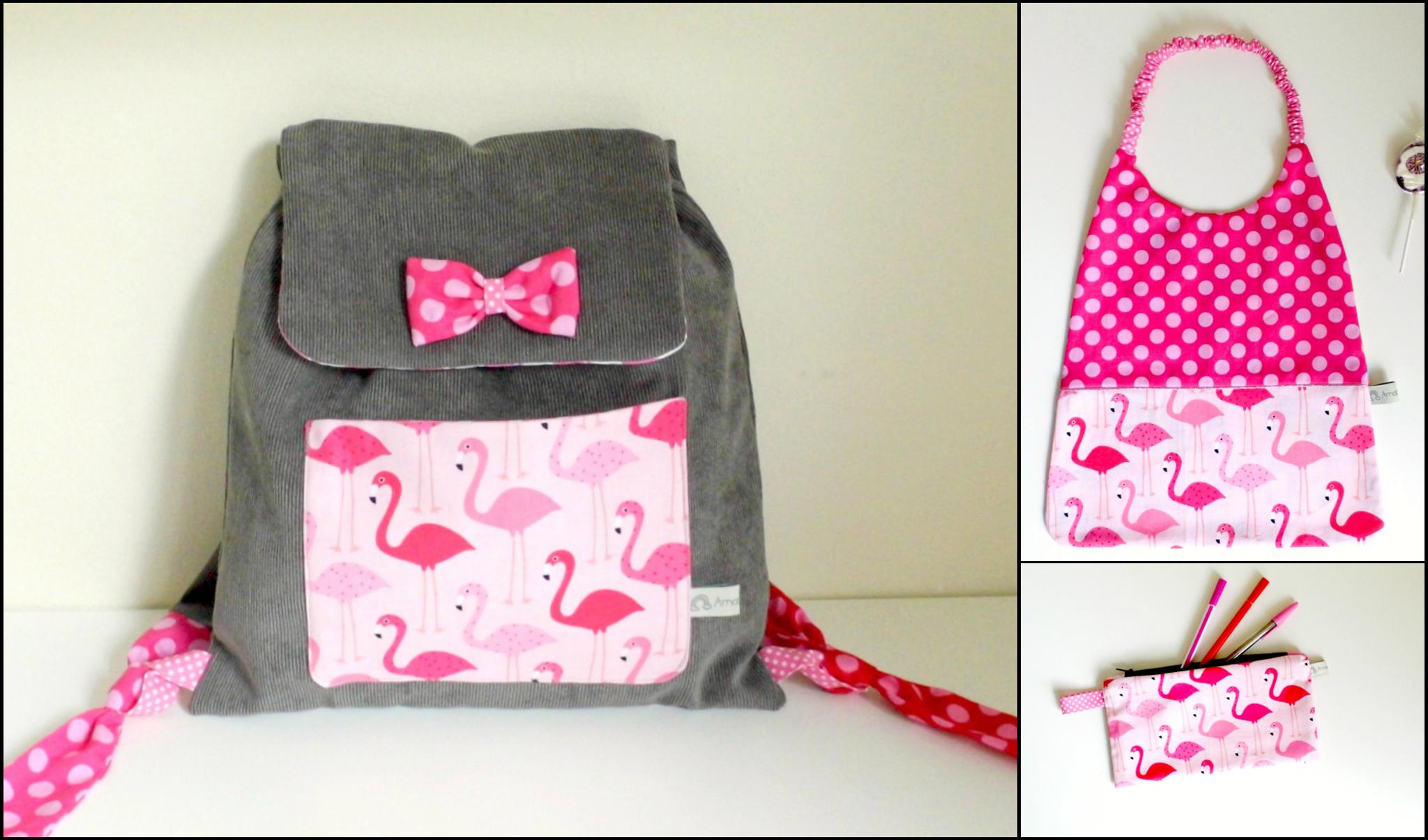 Kit rentrée maternelle sac à dos serviette de table elastiquée trousse flamants roses