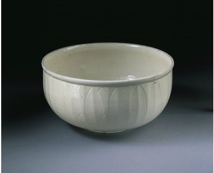 Bowl, carved and incised stoneware, Ding ware, China, Northern Song dynasty, 1050-1127