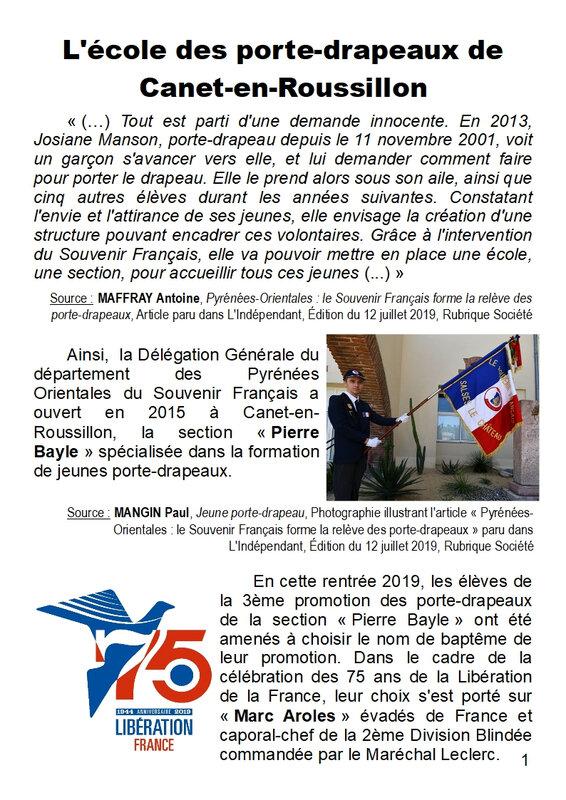 La 3ème promotion Marc Aroles - Ecole des porte-drapeaux