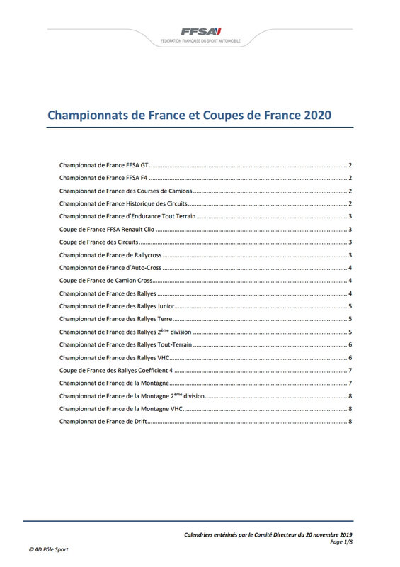 Championnats de France et Coupes de France 2020[1]