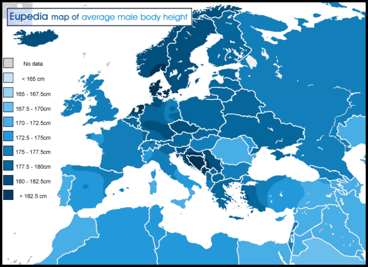 Average male height per European country