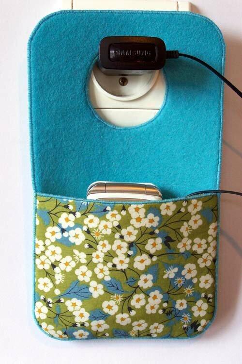 poche portable chargeur mitsi bleu vert