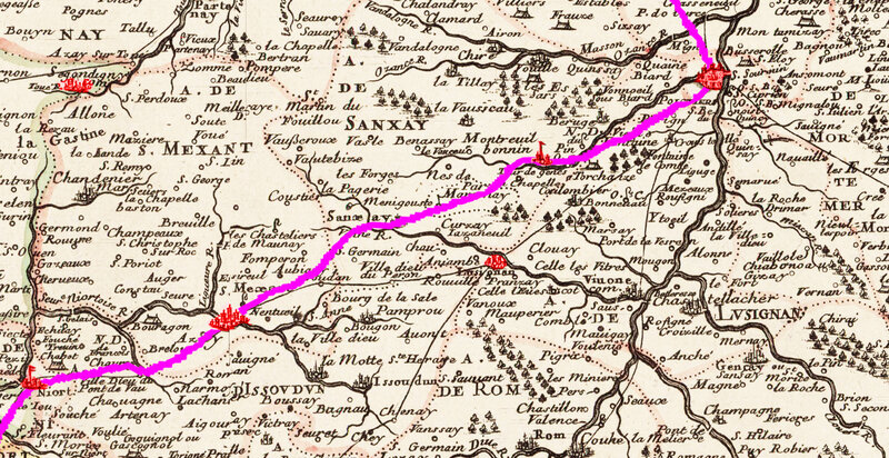 Carte Trajet d'Aliénor d'Aquitaine après les funérailles de Richard Coeur de Lion Poitiers Niort