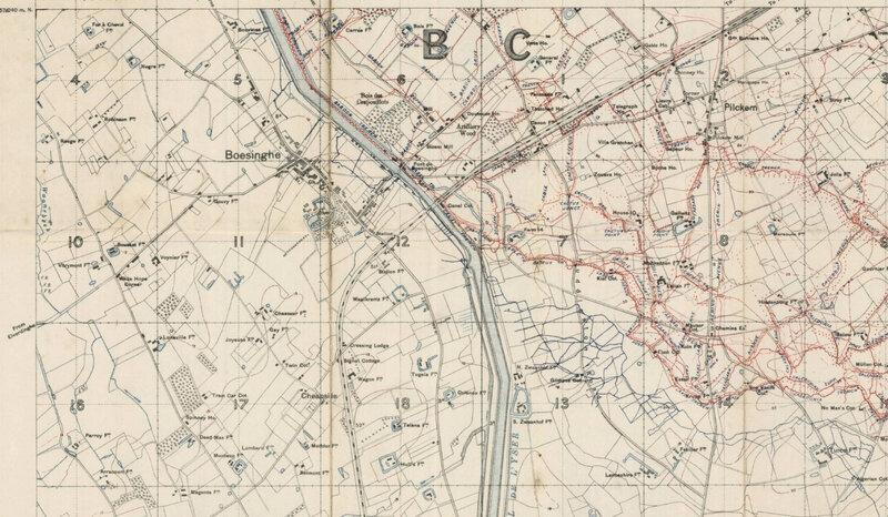 Boesinghe sur la carte en 1915 (1)
