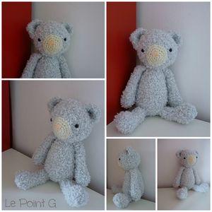 Peluche Ourson ours doudou patron crochet diy enfant bébé tricot debutant