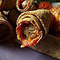 Wraps croustillants de blé noir, saucisse de boeuf et chutney de kiwi, chou-fleur rôti: plus une miette!