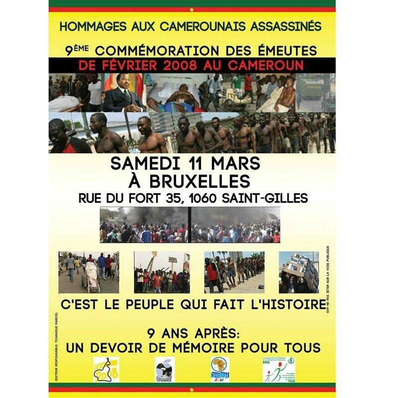 Belgique, Commémoration émeutes de février 2008 au Cameroun, Invitation ,Grande conférence.. Le combat pour les libertés citoyen