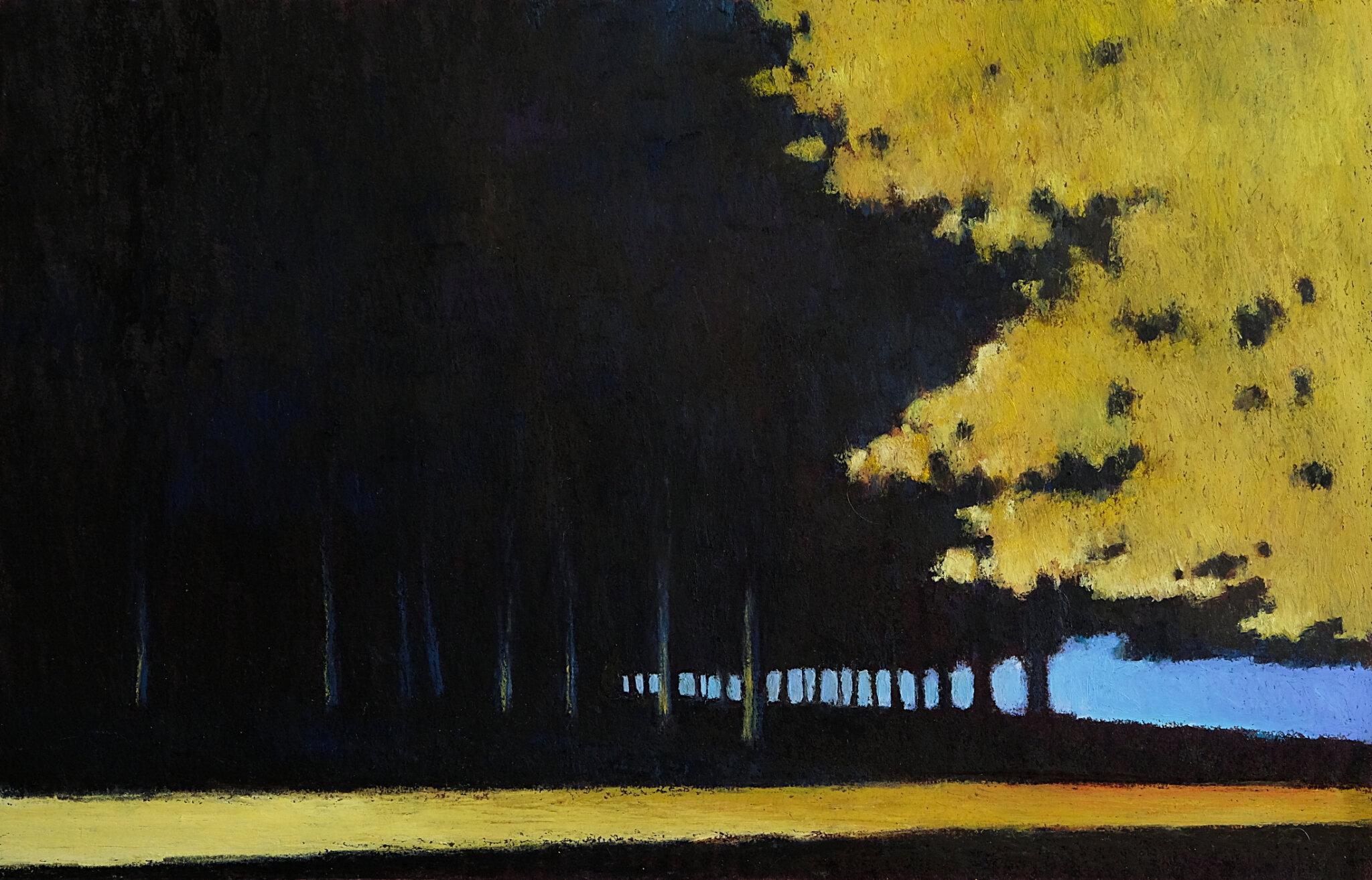 Dans la lumière des phares, mars 2018, pastel à l'huile, 48 x 32 cm