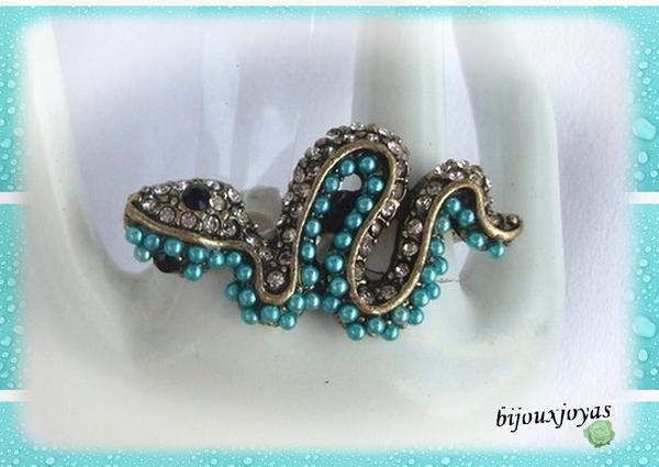 Bague Serpent Colibri Deux Doigts Strass et Perles Bleues Métal Couleur Bronze