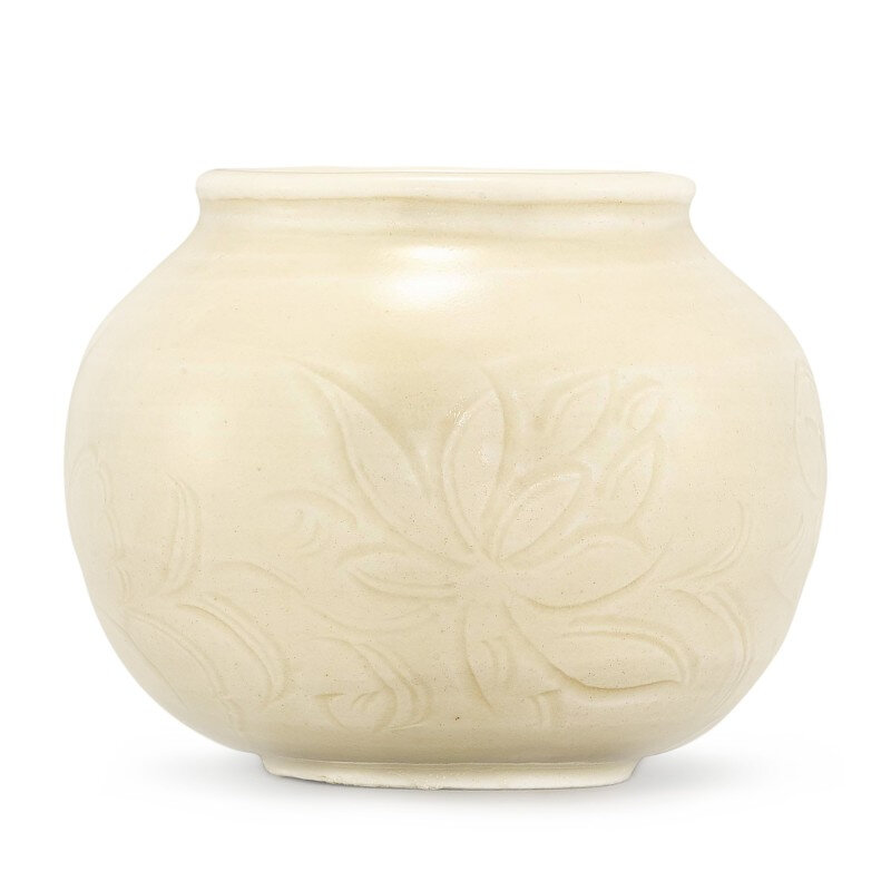 A very rare Dingyao carved 'lotus' brushwasher, Northern Song dynasty (960-1127)