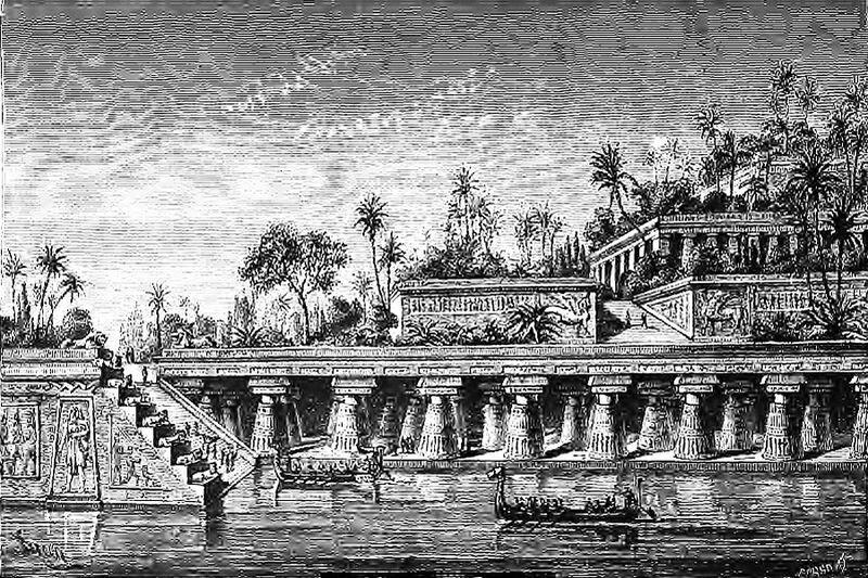 Jardins suspendus de Babylone, gravure de Barclay réalisée au 19ème siècle