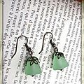 Boucles d'oreilles pyramide vert en verre