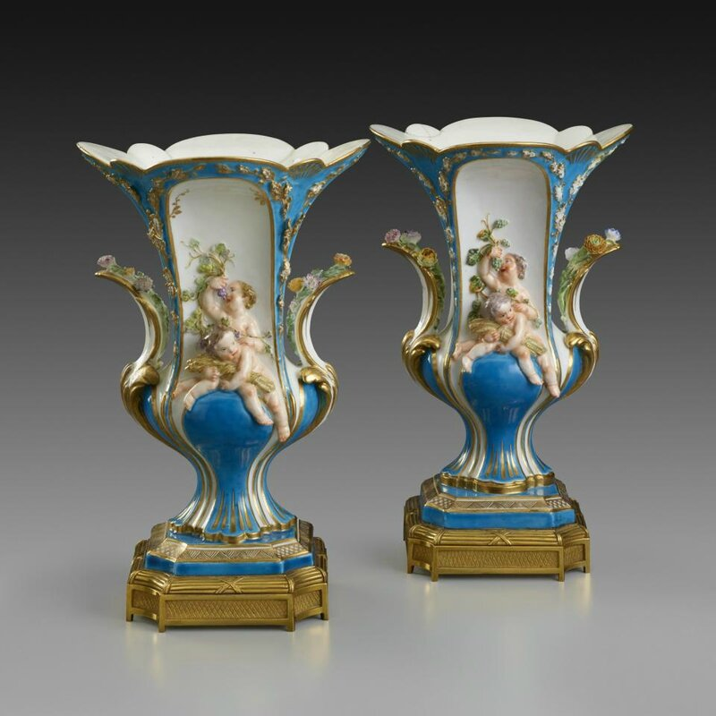 Pair of Vases Duplessis à Enfants,Vincennes Porcelain Manufactory, French, 1753