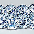 A set of ten blue and white moulded dishes, circa 1660-80