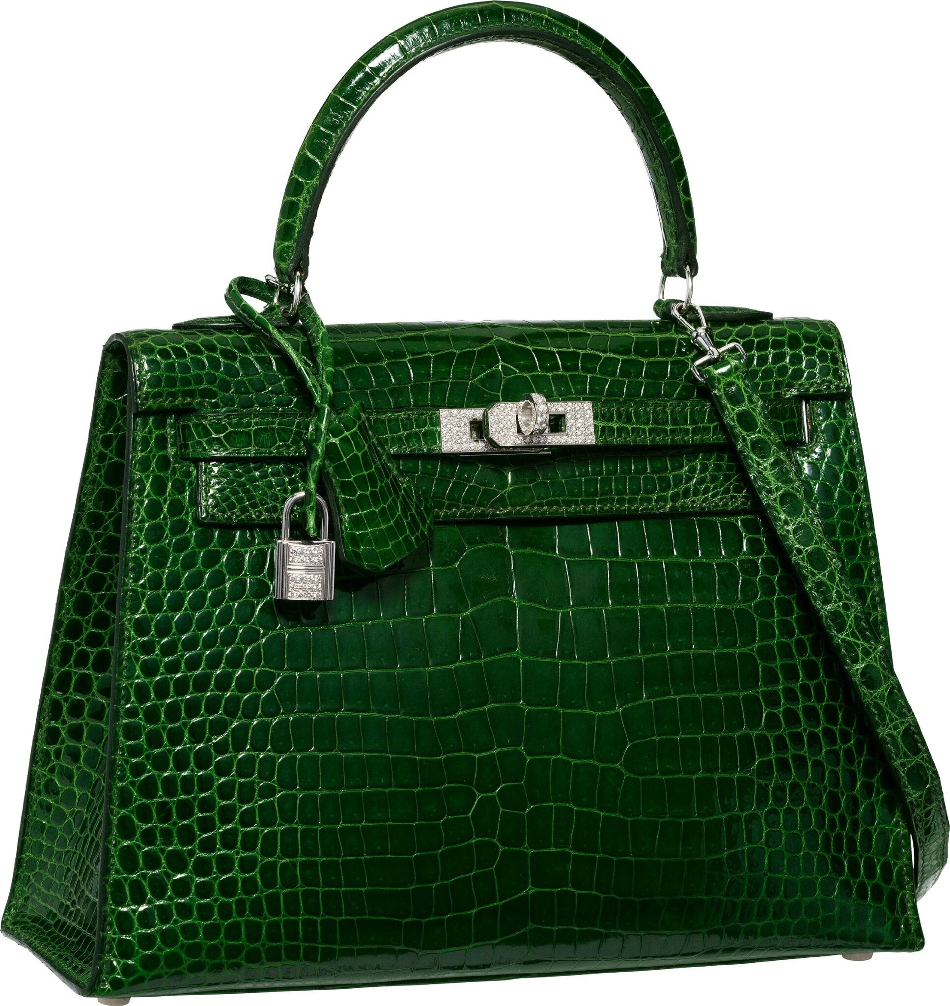 91539ca9d693 Hermès Extraordinary Collection 25cm Diamond, Shiny Vert Emerald Sellier  Kelly Bag with 18K White Gold Hardware. I Square, 2005.