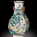 A finely painted and rare famille-rose 'one hundred boys' vase, fanghu, seal mark and period of qianlong (1736-1795)
