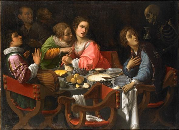 Memento Mori (Death comes to the dinner table), de Giovanni Martinelli (vers 1635). Huile sur toile (114,2 x 158 cm). Galerie G. Sarti, Paris. lepoint.fr © Gilles de Fayet, France